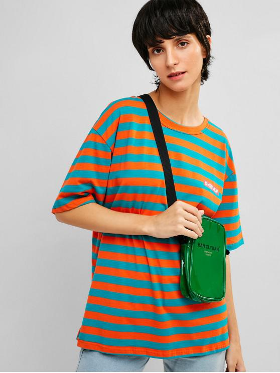 outfits Drop Shoulder Striped Cotton Tunic Tee - TANGERINE L