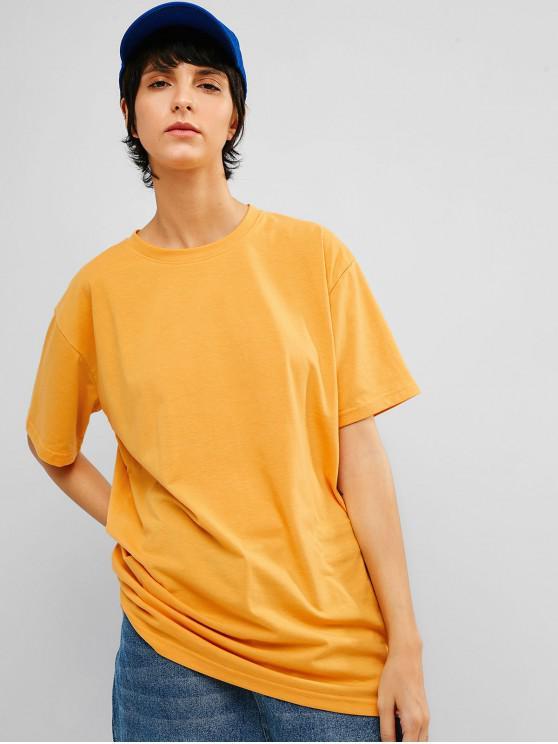 Lässige feste lose Tunika T-Shirt - Niedliches Gummi Gelb 2XL