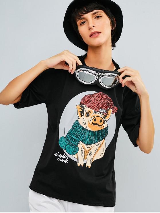 fashion Pig Graphic Drop Shoulder Tunic Tee - BLACK L