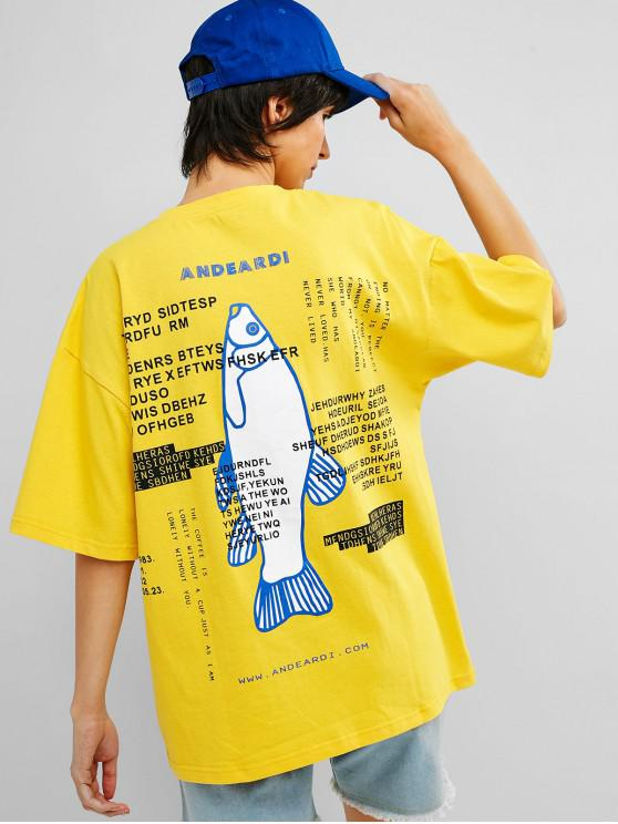 ladies Drop Shoulder Fish Letter Graphic Tunic Tee - SUN YELLOW M