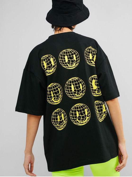 unique Drop Shoulder Earth Graphic Tunic Tee - BLACK 2XL