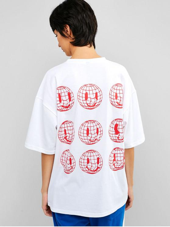 trendy Drop Shoulder Earth Graphic Tunic Tee - WHITE 2XL