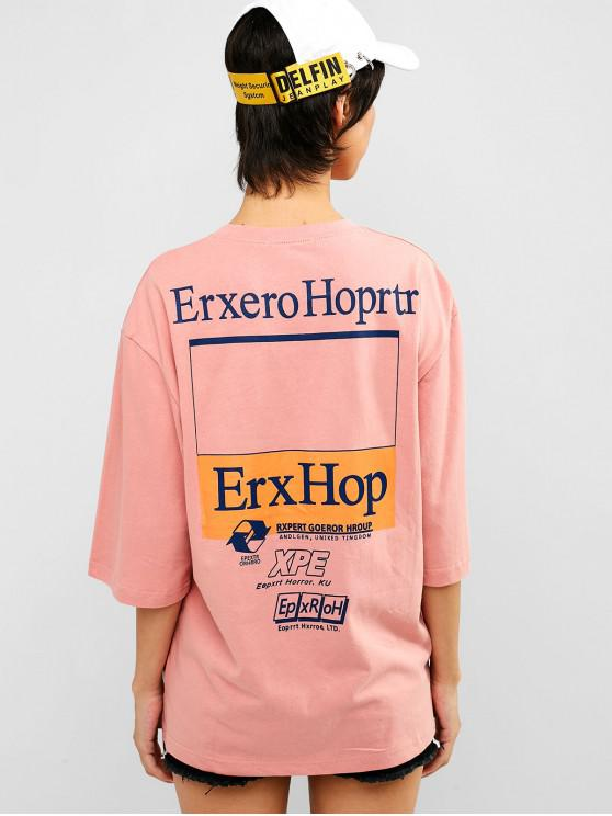 shop Letter Graphic Loose Cotton Tee - FLAMINGO PINK 2XL