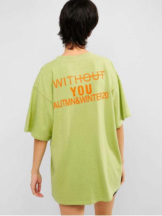 unique Cotton Letter Graphic Tunic Tee - GREEN APPLE 2XL