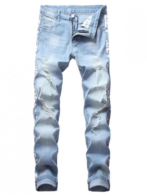women Painting Letters Print Long Ripped Jeans - BLUE GRAY 36