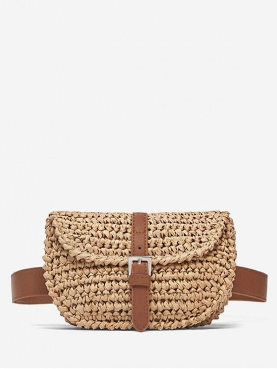 new Straw Buckle Weaving Crossbody Shoulder Bag - BLANCHED ALMOND