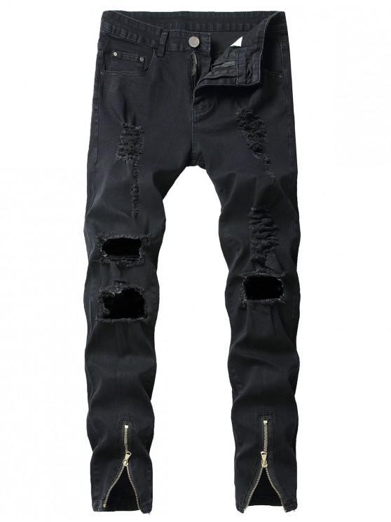 Frontreißverschlüsse lange zerrissene Jeans - Schwarz 34