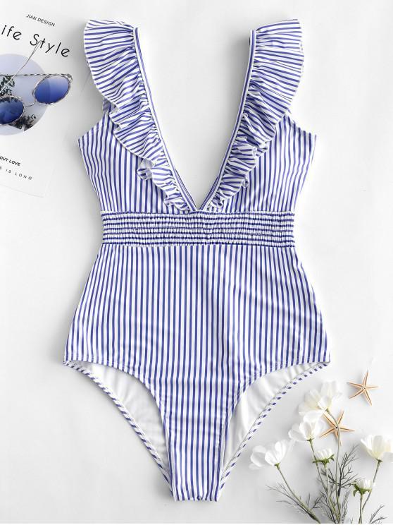 fancy ZAFUL Ruffle Shirred Stripe Swimsuit - LIGHT SKY BLUE M