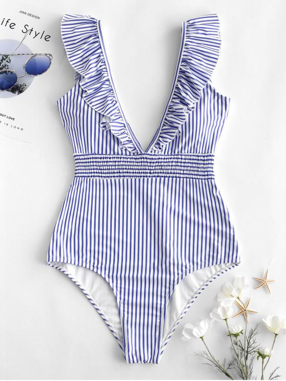 ZAFUL كشكش Shirred شريط ملابس السباحة - ضوء السماء الزرقاء M