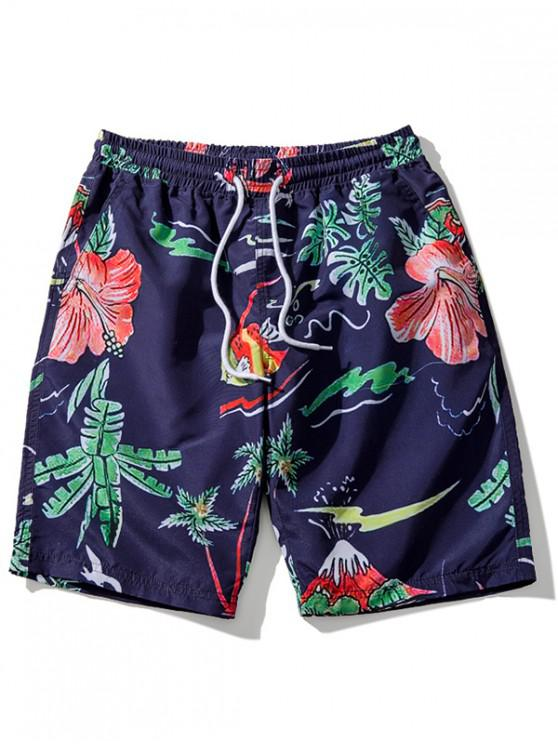 shop Floral Leaves Print Beach Shorts - CADETBLUE L