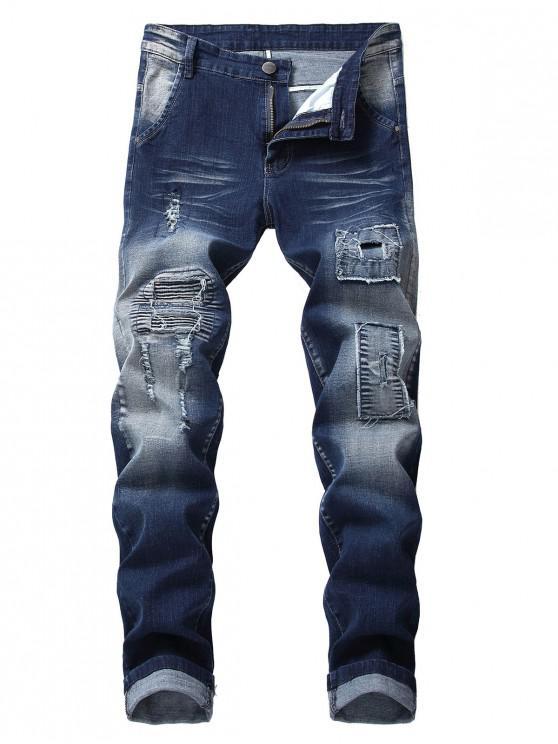 31 Off 2021 Remiendos Largos Plisados Pantalones Rotos En Azul De Pizarra Oscuro Zaful America Latina