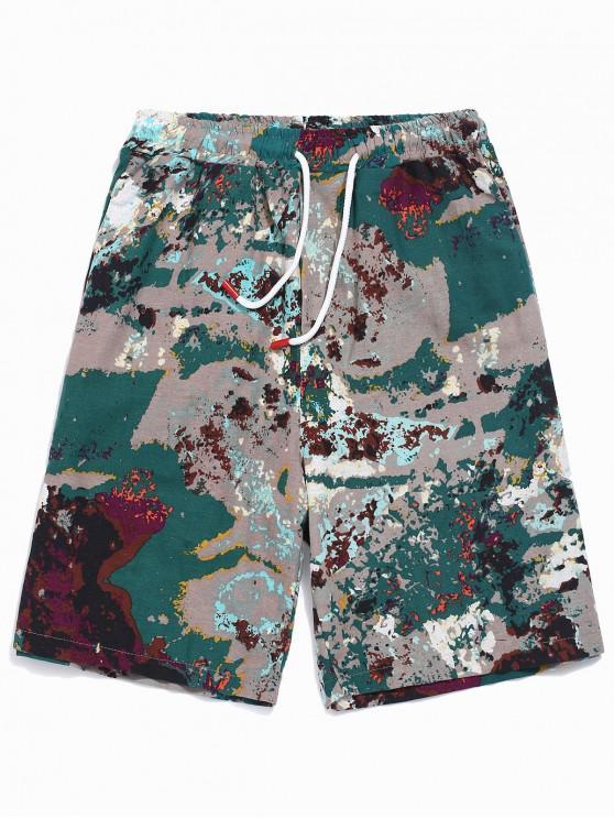 Pantalones cortos con cordón de impresión de salpicaduras de pintura - Multicolor XL