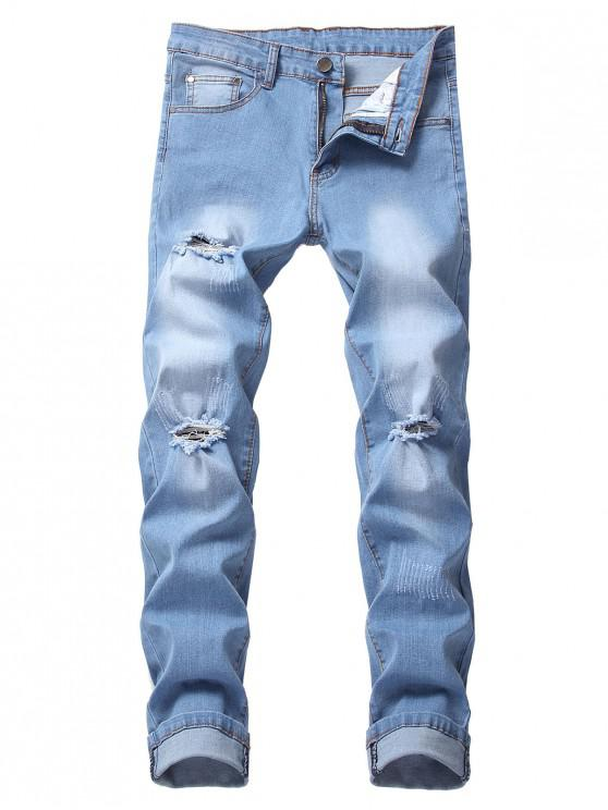 new Long Ripped Faded Wash Casual Jeans - BLUE GRAY 40