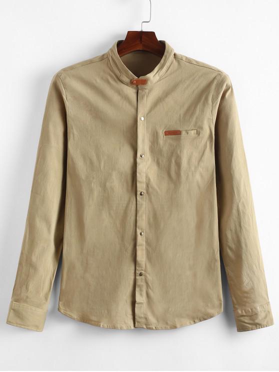 outfits Applique Solid Color Slim Fit Shirt - KHAKI L