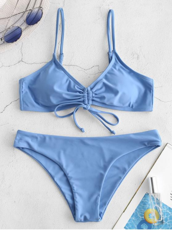 shop ZAFUL Cinched Tie Back Cami Bikini Set - DENIM BLUE L