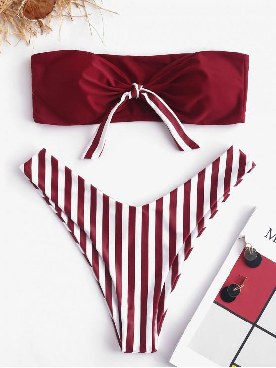 shops ZAFUL Knot Stripe Bandeau Bikini Set - RED WINE L
