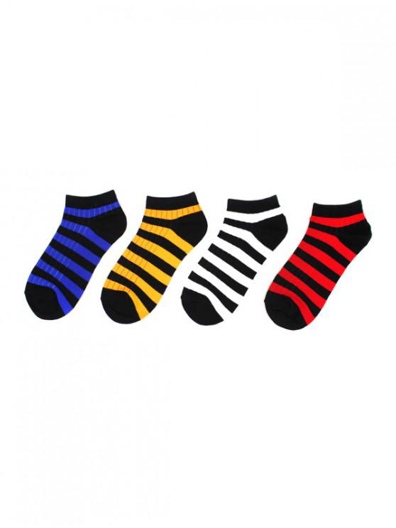 womens 4Pairs Color Block Striped Socks Set - MULTI-B