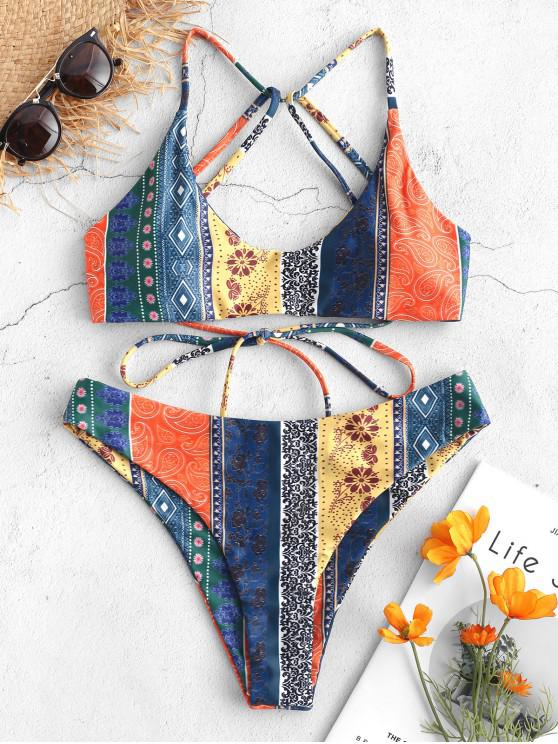 shop ZAFUL Floral Paisley Strappy Bikini Set - MULTI-B L