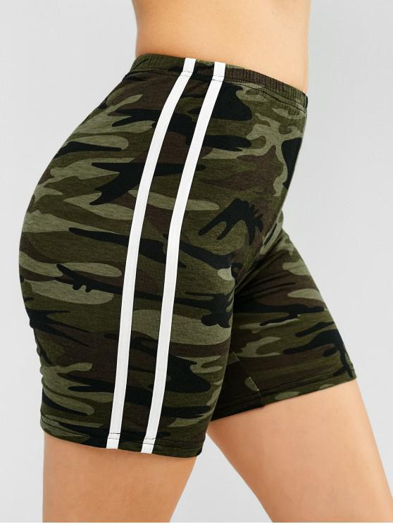 womens ZAFUL Camo Striped Side Gym Shorts - ACU CAMOUFLAGE L