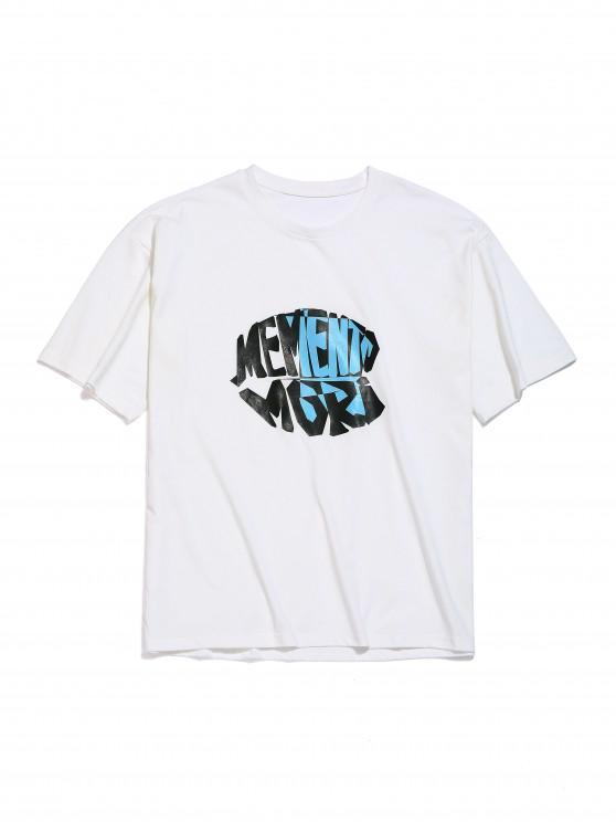 Buchstabendruck- Fallschulter T-Shirt - Weiß L
