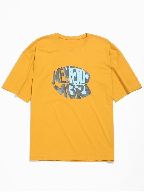 Buchstabendruck- Fallschulter T-Shirt - Goldgelb 3XL