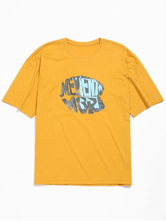 shop Letters Printed Drop Shoulder Tee - GOLDEN BROWN L