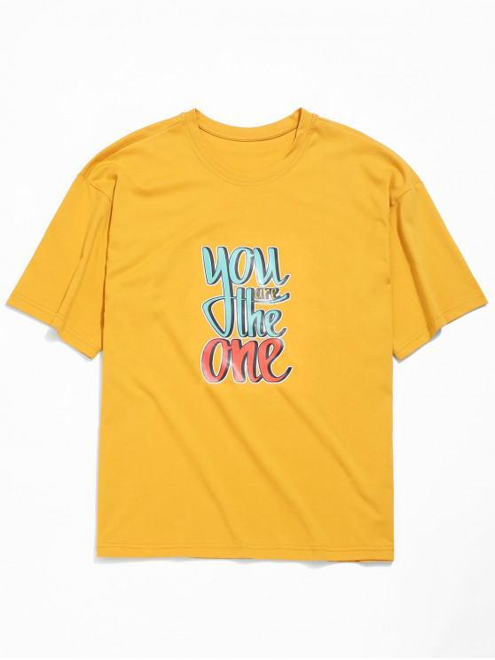 trendy Letters Print Drop Shoulder Tee - GOLDEN BROWN 3XL
