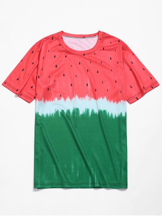 women's Watermelon Tie Dye Print Casual T-shirt - RED L
