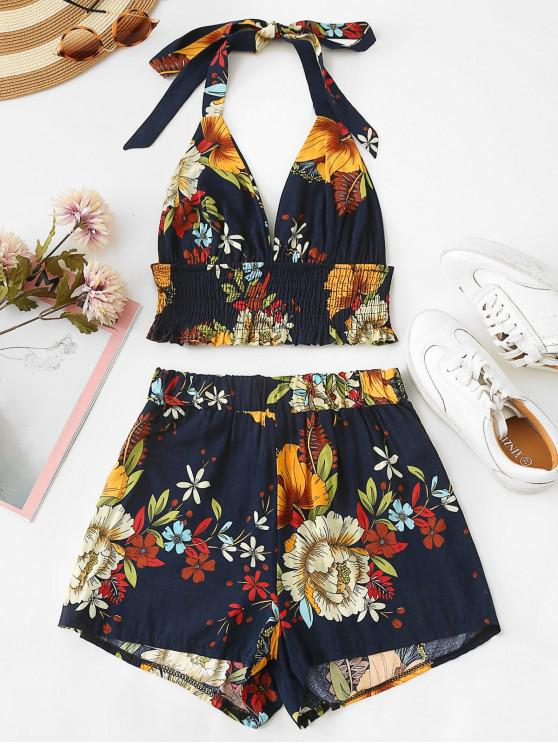 affordable Floral Print Backless Top and Shorts Set - MIDNIGHT BLUE L
