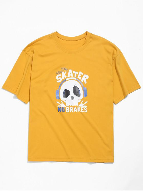 hot Skull Letters Print Drop Shoulder T-shirt - GOLDEN BROWN L