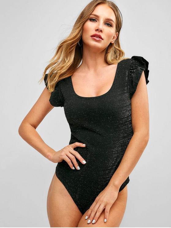 shop Ruffle Sleeve Glittering Snap Crotch Bodysuit - BLACK M