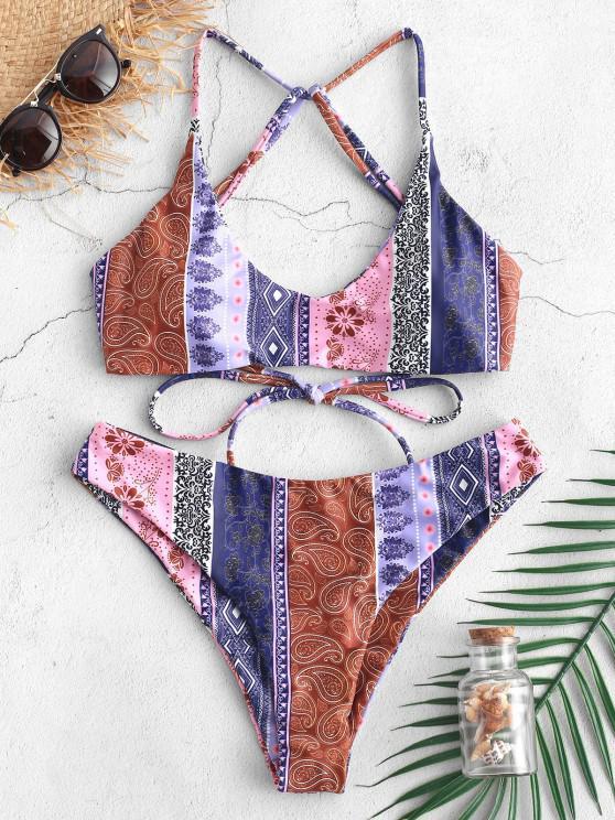 ZAFUL Bikini de Cordones de Flores - Multicolor-C L