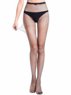 Hollow Mesh Fishing Net Long Pantyhose - Black M