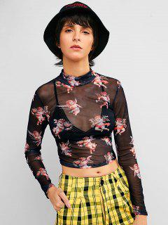 Kid Print Mesh Sheer Crop Tee - Multi S
