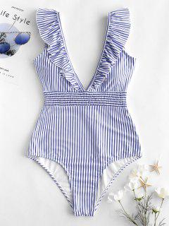 ZAFUL Ruffle Shirred Stripe Swimsuit - Light Sky Blue S
