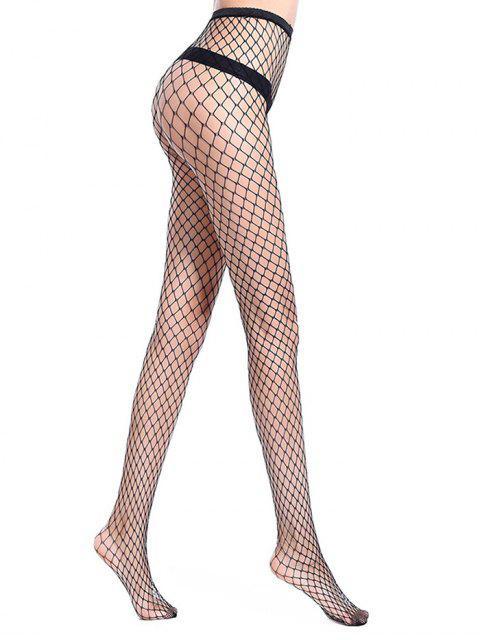 shop Hollow Mesh Fishing Net Long Pantyhose - BLACK L Mobile