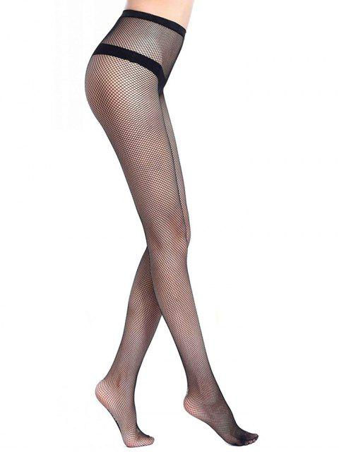 women Hollow Mesh Fishing Net Long Pantyhose - BLACK S Mobile