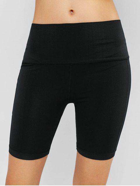 sale Gym Wide Waistband Pocket Biker Shorts - BLACK L Mobile