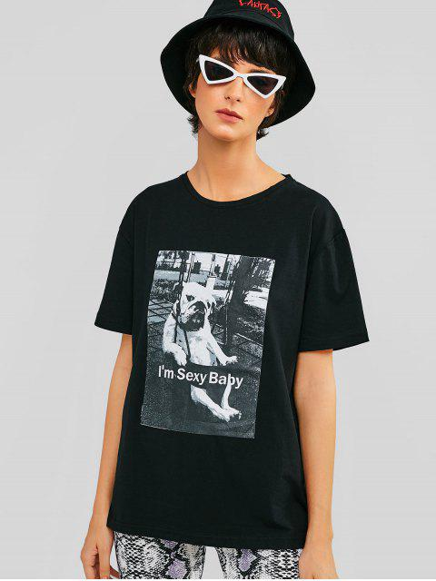Camiseta Casual Camiseta Manga Corta Gráfica - Negro L Mobile
