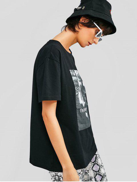 Camiseta Casual Camiseta Manga Corta Gráfica - Negro XL Mobile