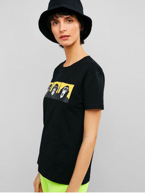 Camiseta de mangas cortas estampada animal - Negro XL Mobile