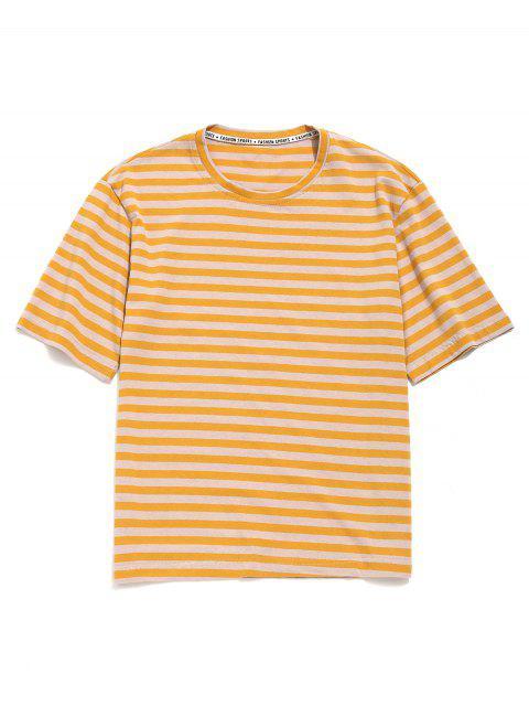 Camiseta Casual Rayada Hombro Caída - Caucho Ducky Amarillo M Mobile