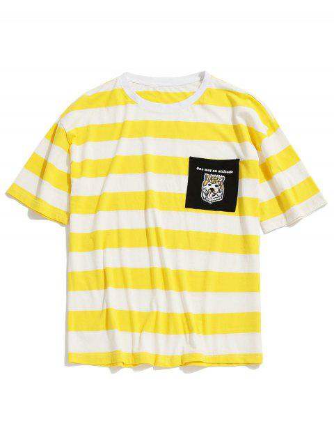 shop Striped Chest Pocket Embroidered Tunic Tee - YELLOW M Mobile