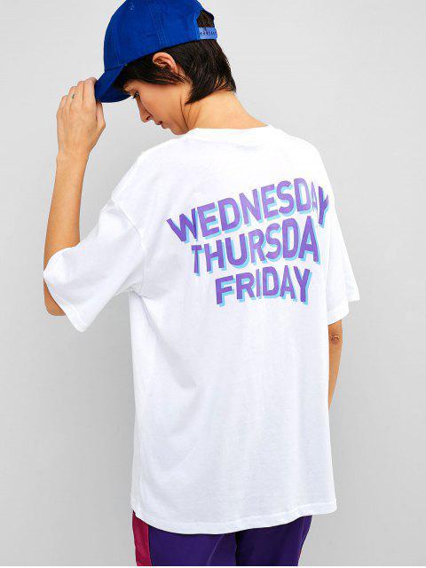 Camiseta estampada de algodón con estampado de hombros - Blanco L Mobile