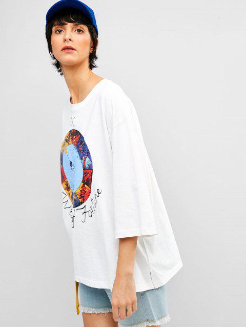 Camiseta de túnica con abertura de hendidura de gráfico - Blanco 2XL Mobile
