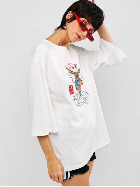 Camiseta holgada con gráfico de algodón de algodón - Blanco M Mobile