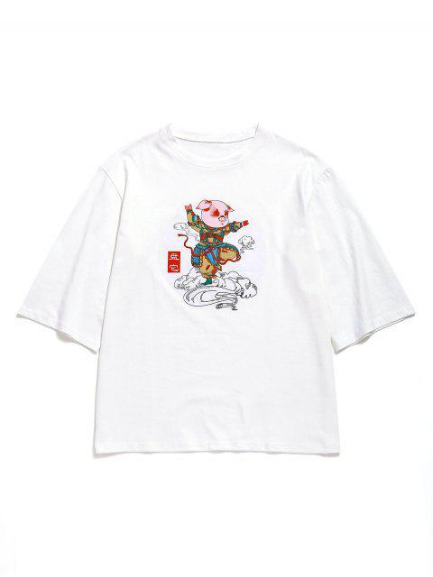 Camiseta holgada con gráfico de algodón de algodón - Blanco XL Mobile