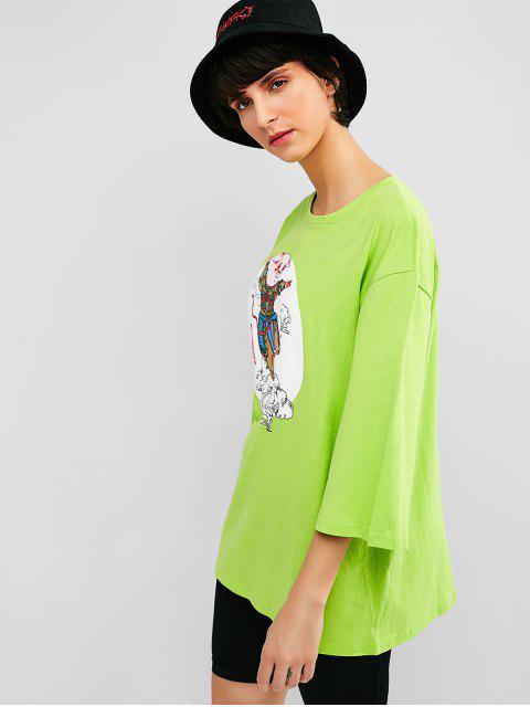Camiseta holgada con gráfico de algodón de algodón - Verde Césped  S Mobile