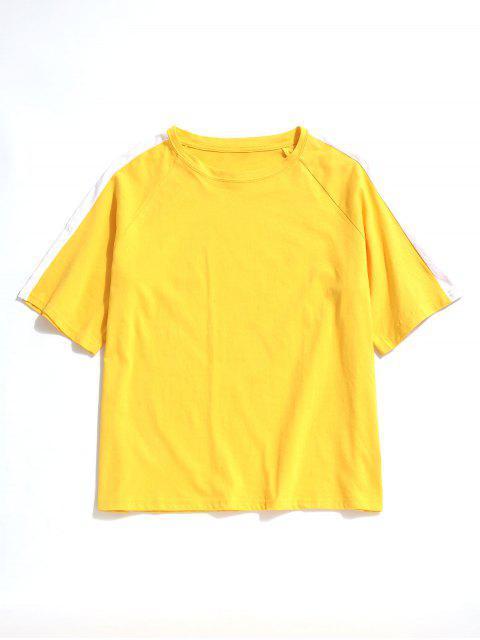 Camiseta Contraste Casual Manga Raglán - Amarillo 2XL Mobile