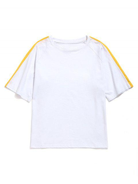 Camiseta Contraste Casual Manga Raglán - Blanco 2XL Mobile